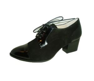 Zapato mujer piel combinada negro cordones