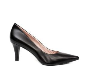 Zapato salón mujer piel seda negra