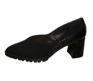 Zapato salón mujer ante negro / piel coco