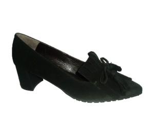 Zapato salón mujer ante negro lazo flecos