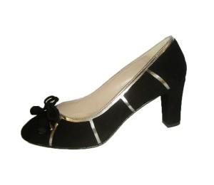 Zapato salón mujer ante negro plomo tacón