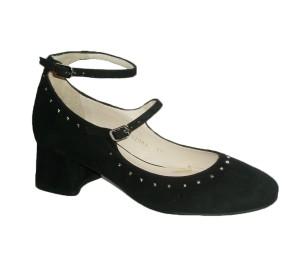 Zapato Lodi Colima ante negro con dos pulseras al tobillo y hebillas