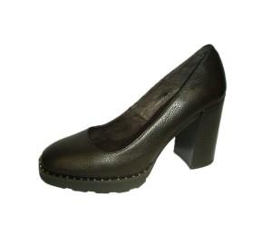 Zapato salón mujer piel negro tacón grueso