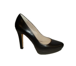 Zapato salón mujer piel negro plataforma tacón