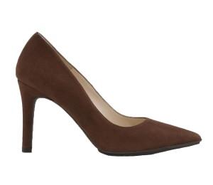 Zapato salón mujer ante caoba tacón