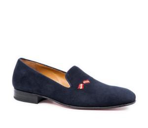 Zapato ante azul marino piso suela