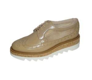 Zapato vintage mujer piel/malla aspe almendra