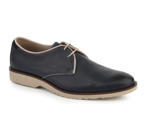 Zapato hombre piel siena marino cordones